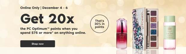 Shoppers Drug Mart Canada Spend 75 Get 20x the PC Optimum Points December 4 - 6 2020 - Glossense