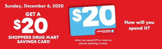 Shoppers Drug Mart Canada Spend 75 Get a Free 20 SDM Savings Card Canadian Deals December 6 2020 - Glossense