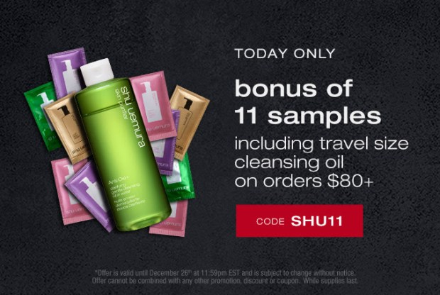 Shu Uemura Canada 2020 Boxing Day Exclusive Free 11-pc Sample Set Purchase Canadian Deals Promo Code - Glossense