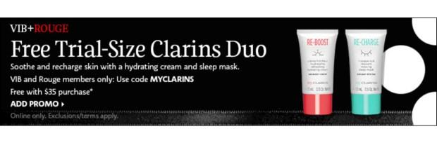 Sephora Canada Promo Code Rouge VIB Gift Free 2-pc My Clarins Sample Set - Glossense