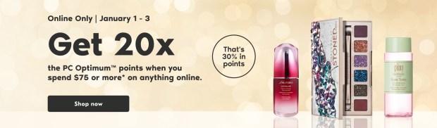Shoppers Drug Mart Canada 20x PC Optimum Points Event January 1 3 2021 - Glossense