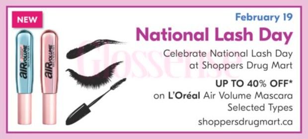 Shoppers Drug Mart Canada L'Oreal Paris Air Volume Mascara 2021 National Lash Day Canadian Deal Sale - Glossense