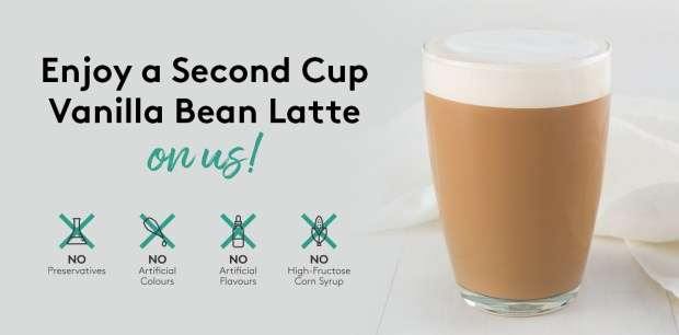 Canadian Freebies Free Second Cup Vanilla Bean Latte - Glossense