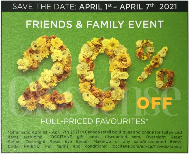 L'Occitane Canada Friends Family Sale Coming Soon Canadian Deals Spring 2021 - Glossense