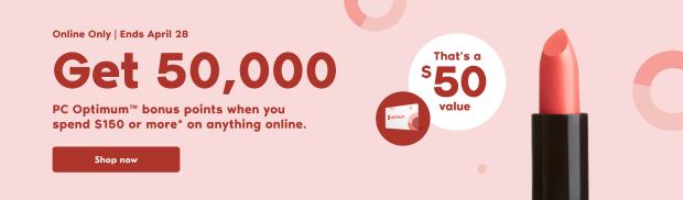 Shoppers Drug Mart Canada Get 50000 PC Optimum Points April 28 2021 - Glossense