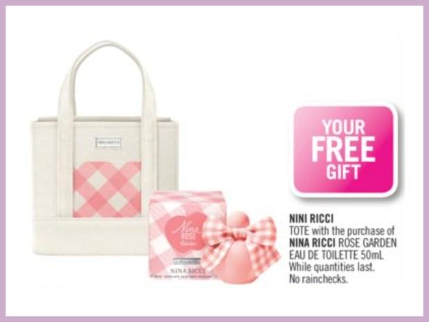 Shoppers Drug Mart Canada GWP Free Nina Ricci Tote Rose Garden Purchase - Glossense