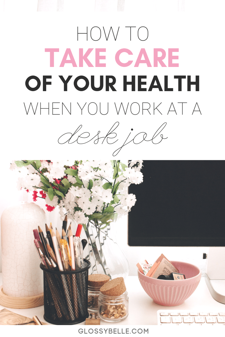 Working at an office job can be mentally and exhausting. Here are some easy tips to take care of yourself and stay motivated, healthy and sane when you work at a 9 to 5 desk job. #selfcare #health #wellness #healthy #mentalhealth #motivation #posture #happiness #organization