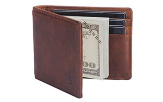 RFID blocking leather wallet