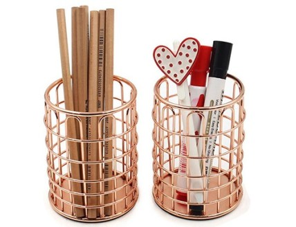rose gold wire pencil holder