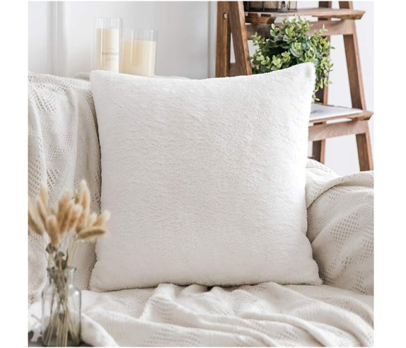 white fur chair accent pillow