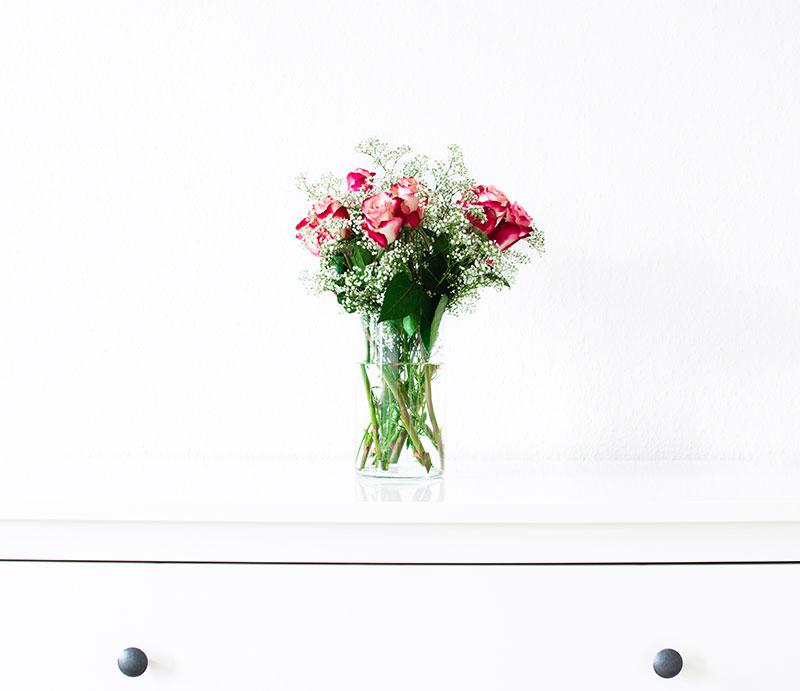 flowers on a dresser