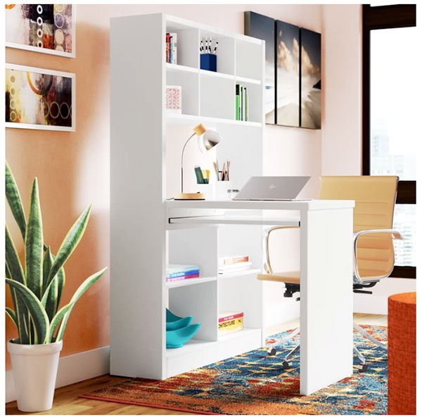 book shelf with attached writing desk