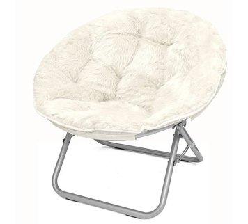 white faux fur saucer chair