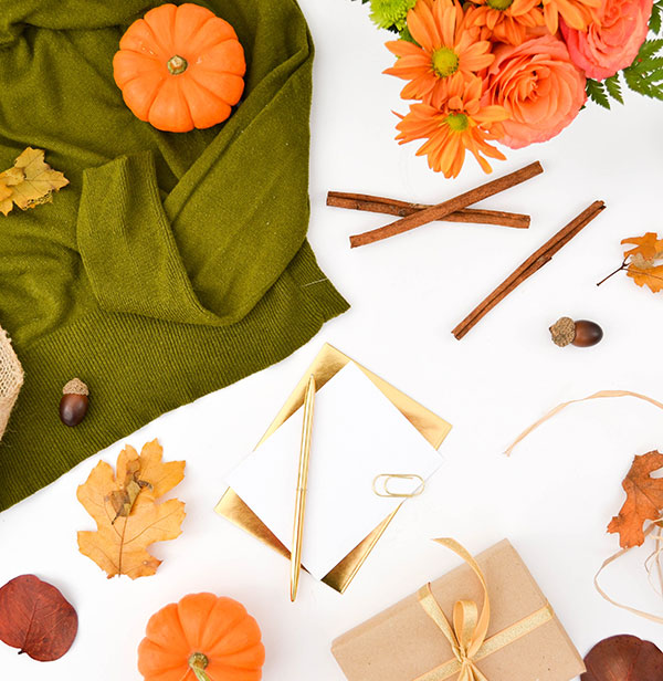 fall home decor flatlay