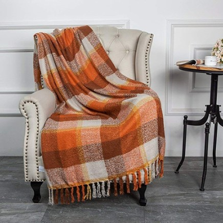 plaid fall throw