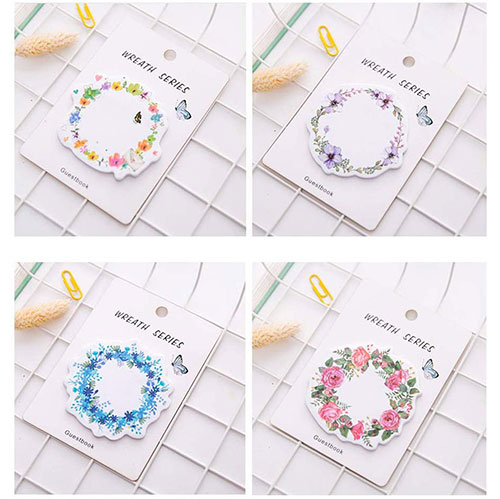 watercolor flower wreath sticky notes