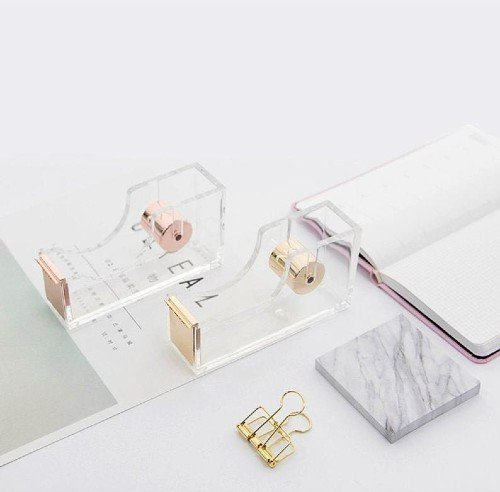rose gold clear acrylic tape dispenser