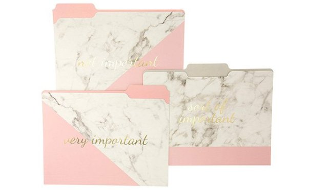 rose gold marble folders