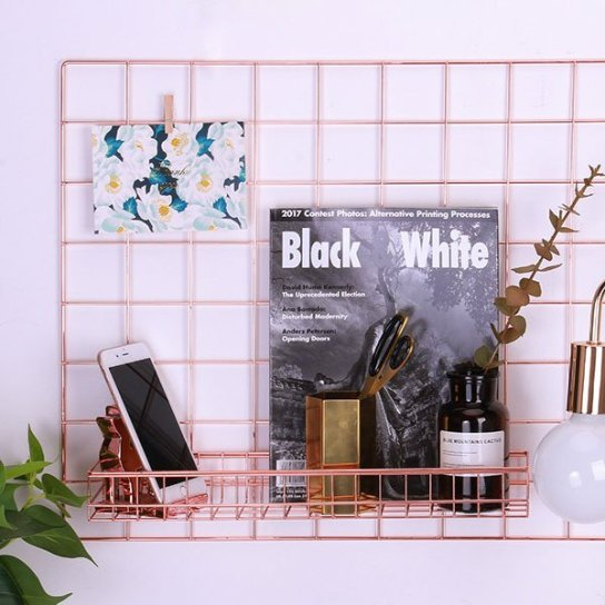 rose gold wall grid panel metal shelf