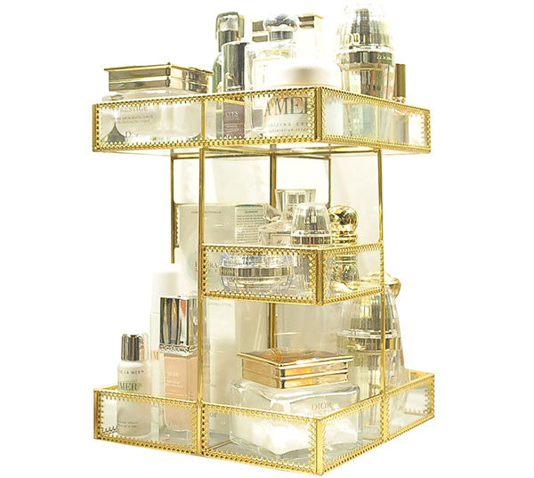 Rotating Gold Antique Mirror Makeup Display