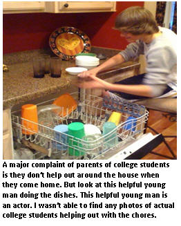 college students visiting home - dishwasher