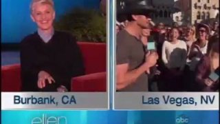 Tim McGraw Surprises Ellen's Twitter Challenge Oct 30 2012