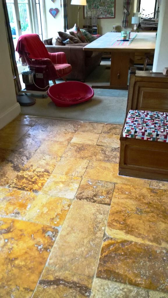 Travertine Kitchen Floor in Greet After Cleaning and Sealing