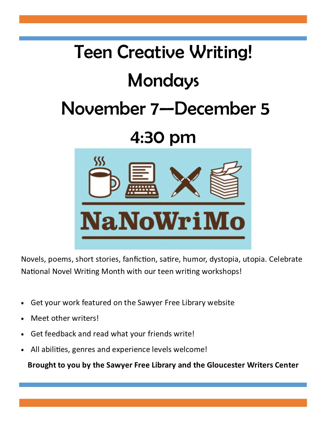 Teen Creative Writing At The Sawyer Free Library