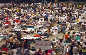Hurricane Katrina refugees in the Houston Astrodome (NBC News photo).