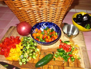 Since the Pico de Gallo uses many of the same ingredients, I like to get it going at the same time as the chili if I'm planning to use it as a garnish