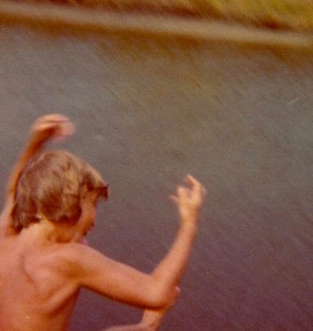 Steve perfected his cannonball in the canal behind our beach house