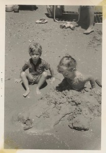 Playing in the sand at Burger's Lake when we were tiny