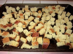 Cubing and toasting the bread makes a nice crusty foundation for the Ham & Green Chile Strata