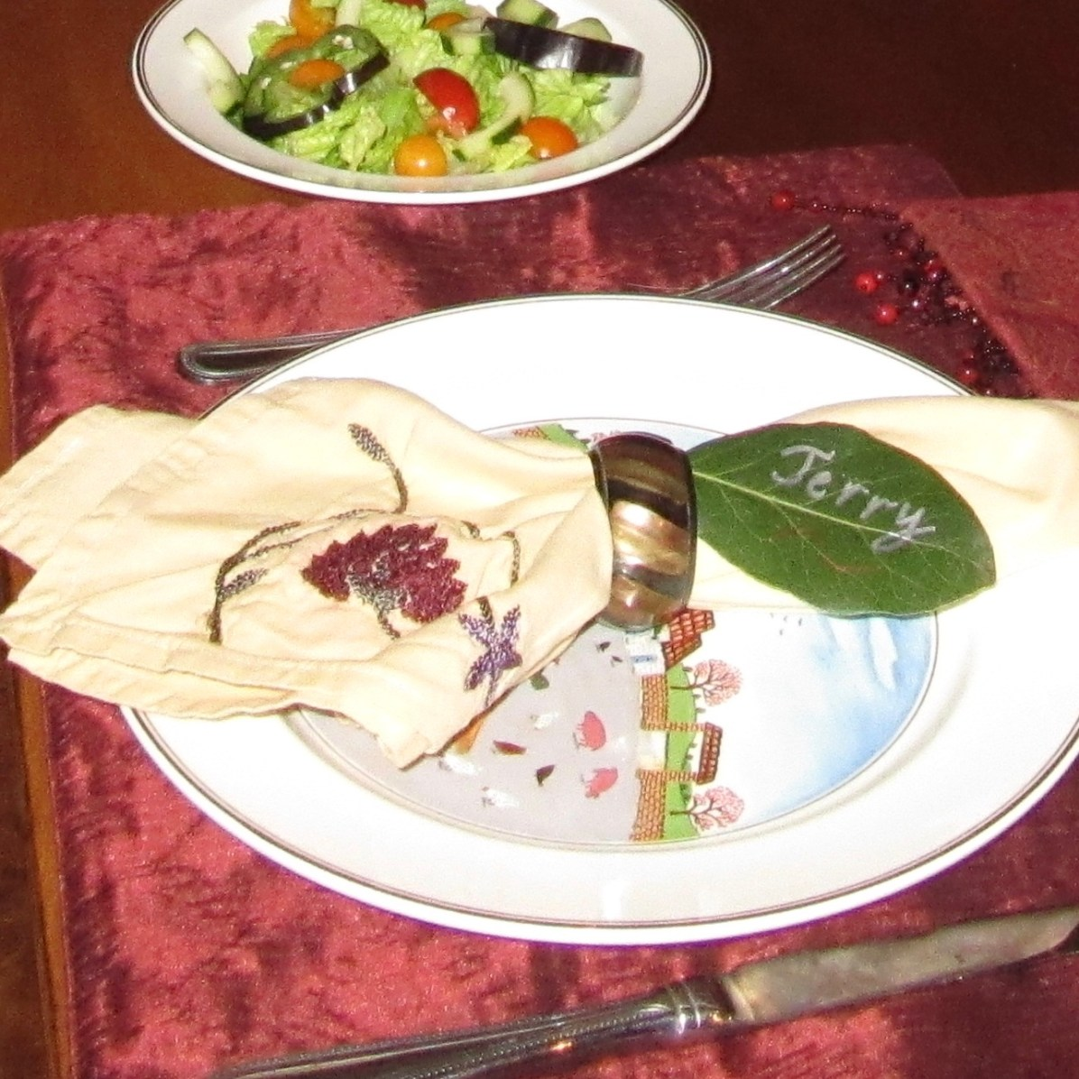 A bay leaf makes a beautiful place card.