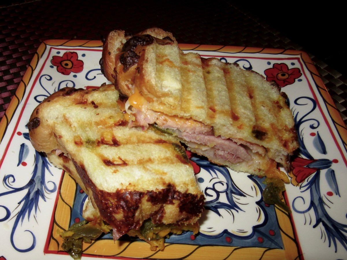 Ham and Sharp Cheddar Panini on Jalapeño Cheese Bread
