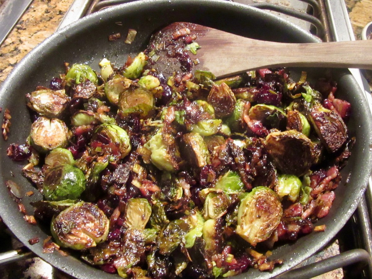 Roasted Brussels Sprouts with Cranberries, Bacon and Bacon-Jalapeno Jam