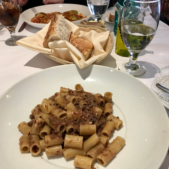 Pasta with wild boar ragu at Celestino