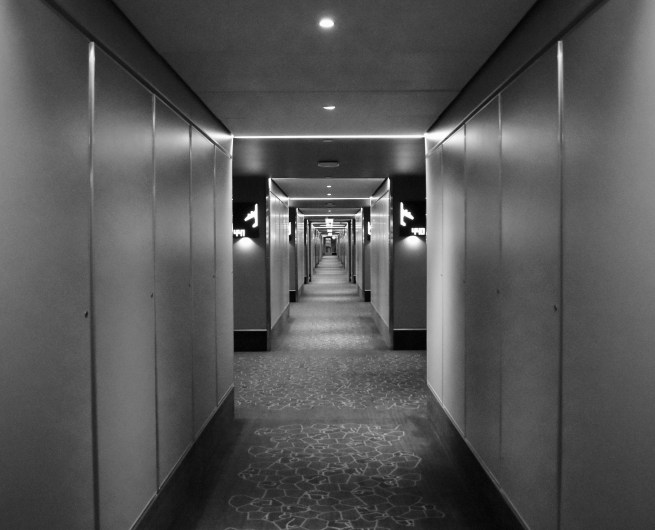 A long hallway at a Heathrow Airport hotel