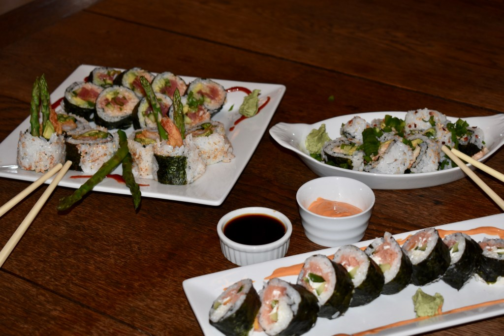 Four kinds of homemade sushi at Glover Gardens