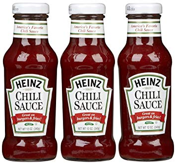 3 bottles of Heinz Chili Sauce