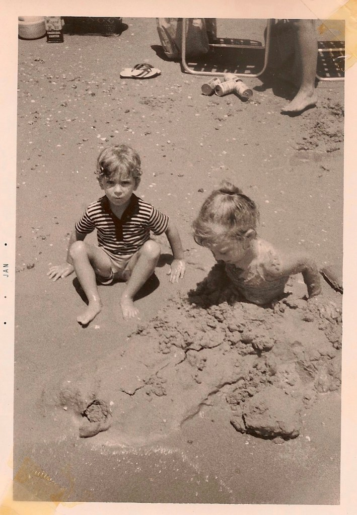 Steve and me as children in the sand.