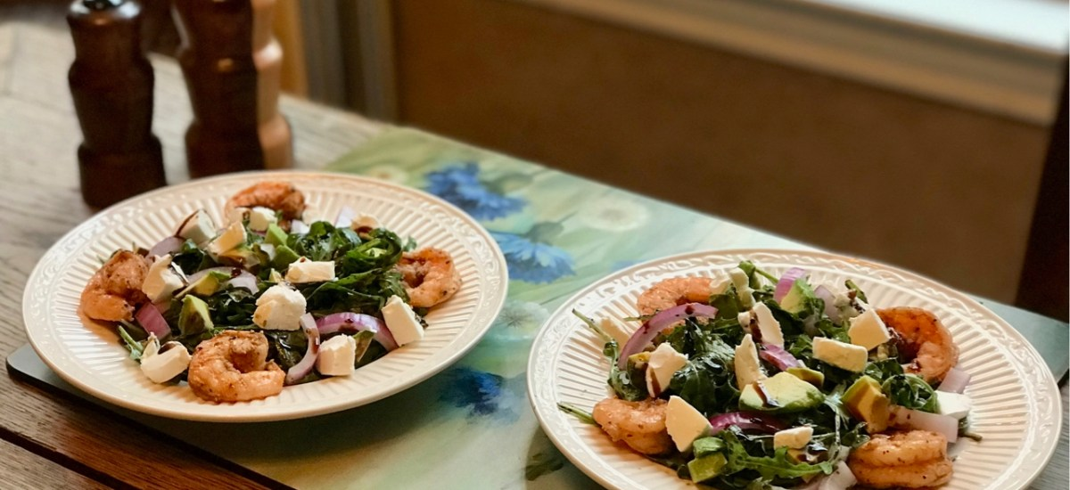 Fall in Love with this Arugula, Goat Cheese and Shrimp Salad with Balsamic Dressing