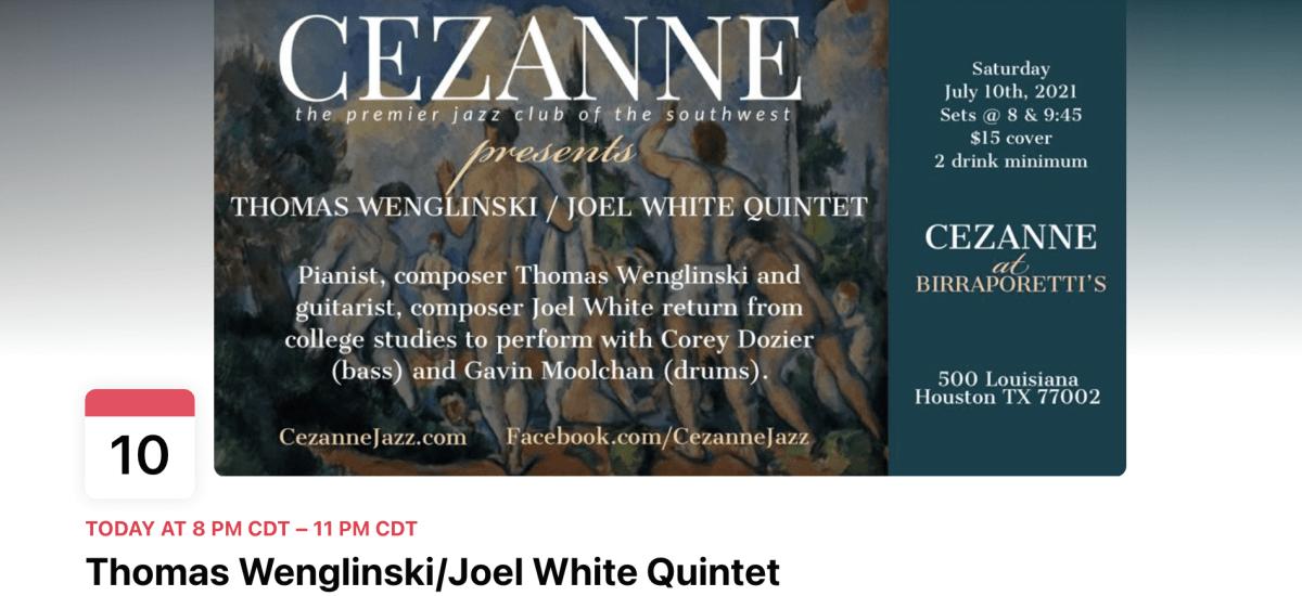 Tonight! Thomas Wenglinski and Joel White Play Live Jazz at Cezanne in Houston