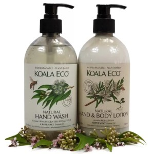 Koala Eco clean protect destress selection hand wash hand and body lotion rosalina and peppermint