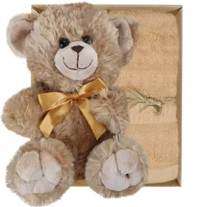 Bailey Teddy Bear and Sandstone Bamboo Hand Towel Gift Boxed by Gloves and Sanitisers
