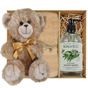 Bailey Teddy Bear with Koala Eco Natural Hand Wash and Sandstone Bamboo Hand Towel Gift Boxed by Gloves and Sanitisers – stock no. GBBaileyHTHWSandstone