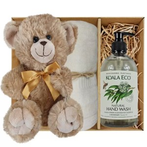 Bailey Teddy Bear with Koala Eco Natural Hand Wash and Soft Cream Bamboo Hand Towel Gift Boxed by Gloves and Sanitisers – stock no. GBBaileyHTHWSoftCream