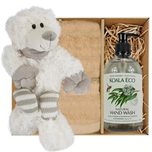 Ellie Stripey Sox Teddy Bear with Koala Eco Natural Hand Wash and Sandstone Bamboo Hand Towel Gift Boxed by Gloves and Sanitisers – stock no. GBEllieHTHWSandstone