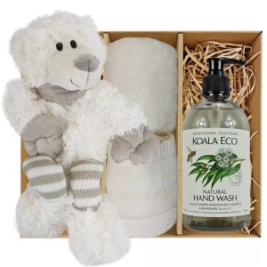 Ellie Stripey Sox Teddy Bear with Koala Eco Natural Hand Wash and Soft Cream Bamboo Hand Towel Gift Boxed by Gloves and Sanitisers – stock no. GBEllieHTHWSoftCream
