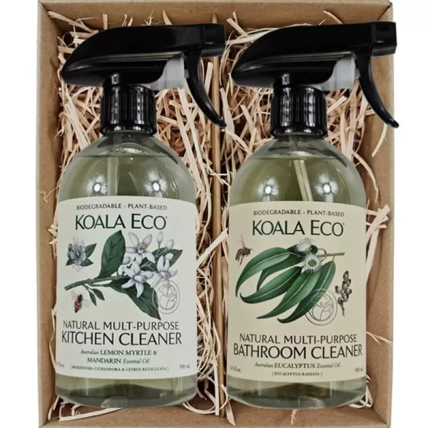 Koala Eco Natural Multi Purpose Kitchen Cleaner and Natural Multi Purpose Bathroom Cleaner in a gift box from Gloves and Sanitisers